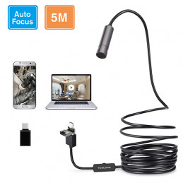 16feet / 5m Auto Focus Endoscope Camera with 5.0 Megapixels HD Micro Inspection Camera Teslong