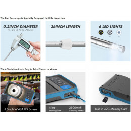 26inch / 66cm Rigid Borescope with 4.5inch Monitor Screen Teslong